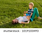 happy woman and child having... | Shutterstock . vector #1019103493