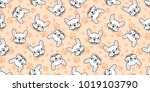 dog seamless pattern french... | Shutterstock .eps vector #1019103790