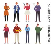 various people using cell phone ... | Shutterstock .eps vector #1019105440