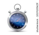 realistic metallic stopwatch ...   Shutterstock .eps vector #1019105629