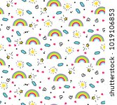vector seamless pattern with... | Shutterstock .eps vector #1019106853