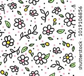 vector seamless pattern doodle... | Shutterstock .eps vector #1019106856