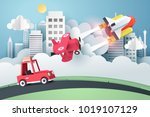 who is faster  paper art of... | Shutterstock .eps vector #1019107129