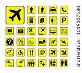 set of airport icons or signs ... | Shutterstock .eps vector #1019107180