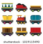 colorful vector wagons for a... | Shutterstock .eps vector #1019115490