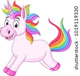 cartoon rainbow unicorn horse | Shutterstock .eps vector #1019119330