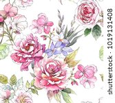 Stock photo watercolor floral pattern seamless pattern with purple and pink bouquet on white background 1019131408