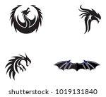 head dragon flat color logo... | Shutterstock .eps vector #1019131840