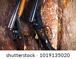 shotgun on wooden background | Shutterstock . vector #1019135020