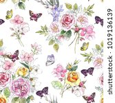 Stock photo beautiful watercolor pattern with peony and rose flowers pattern with butterflies and pink flowers 1019136139