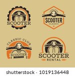 vector set of classic scooter... | Shutterstock .eps vector #1019136448