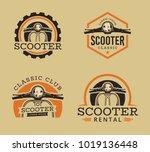 vector set of classic scooter... | Shutterstock .eps vector #1019136448