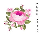 the blooming rose with couple... | Shutterstock .eps vector #1019138314