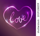 neon pink glow effect of love... | Shutterstock .eps vector #1019138359
