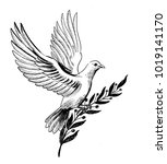white dove with an olive branch | Shutterstock . vector #1019141170
