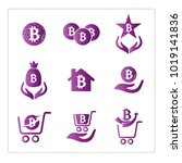 set bitcoin vector simple | Shutterstock .eps vector #1019141836