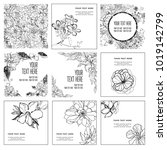 set of vector frames and... | Shutterstock .eps vector #1019142799