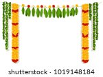indian garland of flowers and... | Shutterstock . vector #1019148184