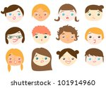 vector set of women's face. | Shutterstock .eps vector #101914960