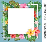 square template with leaves of... | Shutterstock .eps vector #1019153809