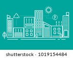 illustration of downtown city... | Shutterstock . vector #1019154484