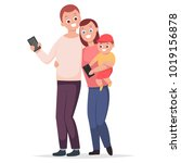 happy family with gadgets.... | Shutterstock .eps vector #1019156878