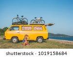 summer holidays  road trip ...   Shutterstock . vector #1019158684