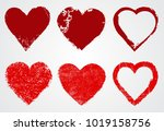 grunge heart icons.vector heart ... | Shutterstock .eps vector #1019158756