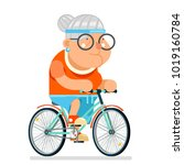 cycling fitness granny adult... | Shutterstock .eps vector #1019160784