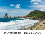 rocks and hills  of pointe des... | Shutterstock . vector #1019161408