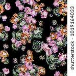 seamless flowers pattern with... | Shutterstock . vector #1019164033