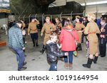 Small photo of Dancing visitors and people in uniform. St. Petersburg, Russia - 7 May, 2017. Visitor in the exhibition pavilion of the Patriotic Association of Lenrezerv.