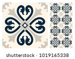 vintage tiles patterns antique... | Shutterstock .eps vector #1019165338