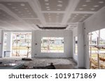 empty room interior with gypsum ... | Shutterstock . vector #1019171869