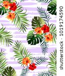 decorative colorful stripe palm ... | Shutterstock .eps vector #1019174590