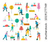 people doing garden activities. ... | Shutterstock .eps vector #1019177749
