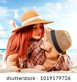 two lovers on beach and... | Shutterstock . vector #1019179726