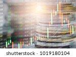 stock market or forex trading... | Shutterstock . vector #1019180104