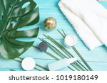 beauty care products on a blue ... | Shutterstock . vector #1019180149