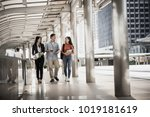full length of students friends ... | Shutterstock . vector #1019181619