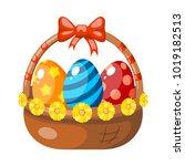 color image of an easter basket ... | Shutterstock .eps vector #1019182513