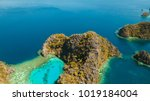 tropical lagoon with azure... | Shutterstock . vector #1019184004