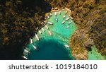 tropical lagoon with azure... | Shutterstock . vector #1019184010
