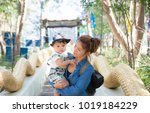 the asian baby with the mom in... | Shutterstock . vector #1019184229