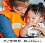 the asian baby with the mom in... | Shutterstock . vector #1019186110