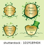 green and golden frames with... | Shutterstock .eps vector #1019189404
