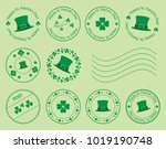 green postage stamps with... | Shutterstock .eps vector #1019190748