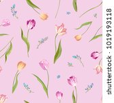 floral seamless pattern with... | Shutterstock .eps vector #1019193118