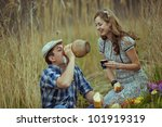 image of young man and woman...   Shutterstock . vector #101919319
