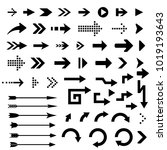 black arrows. collection of...   Shutterstock .eps vector #1019193643